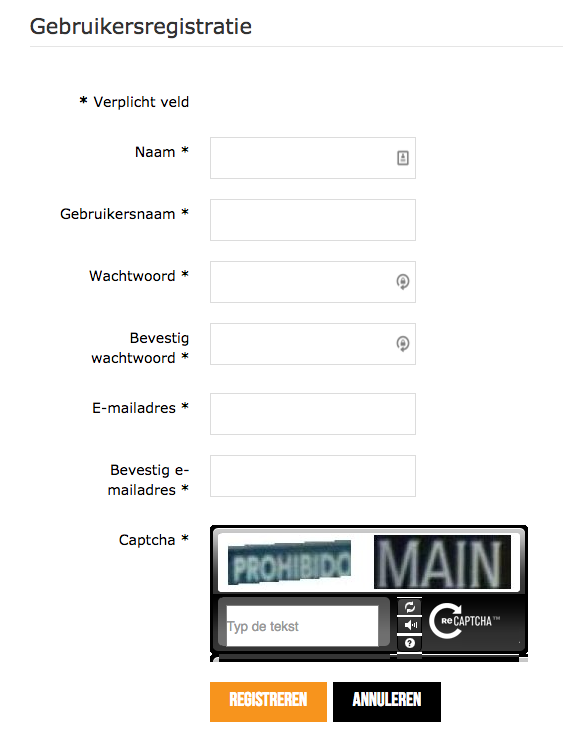 gebruikersregistratie